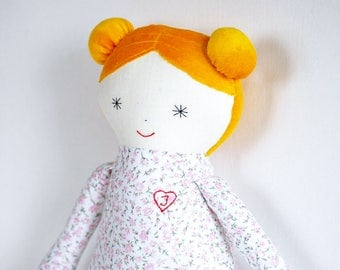 Personalized baby doll, soft rag doll, heirloom stuffed doll, baby toys, blush green pink toys, baby shower gift, snug up doll with heart