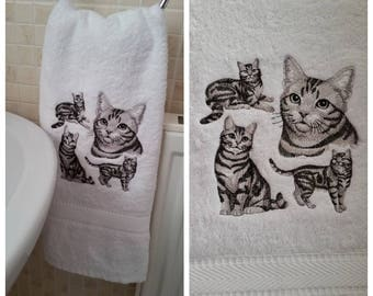 Embroidered Short Hair Cat Kitty Hand Towel Birthday Present Gift