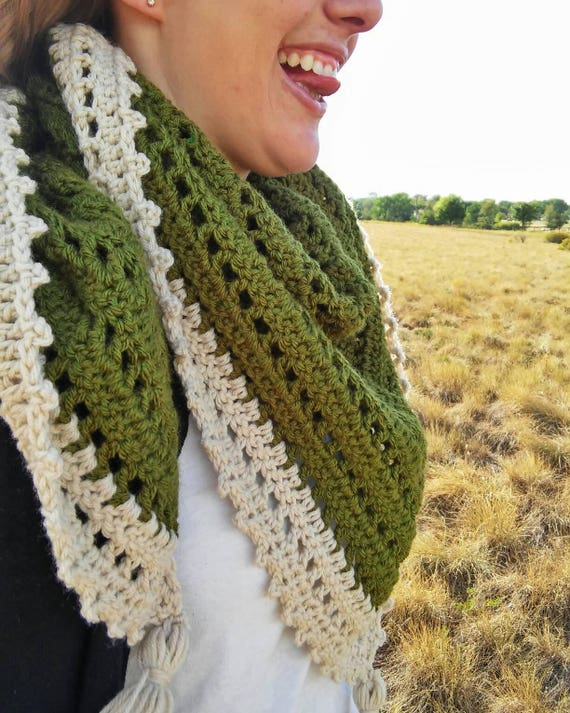Triangle scarf with tassles -- crochet scarf -- olive green triangle scarf