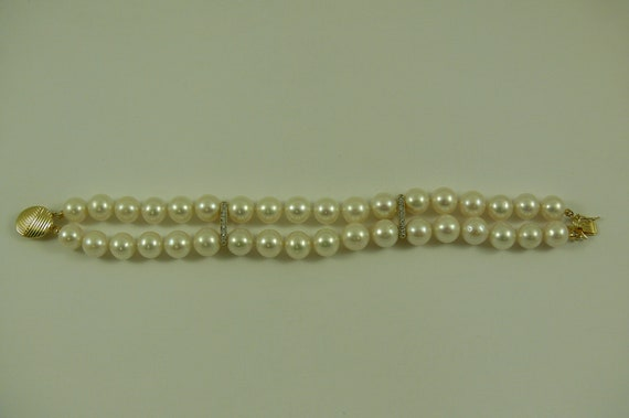 Freshwater Pearl Double Strand Bracelet with14k Yellow Gold Clasp & Diamond Bars