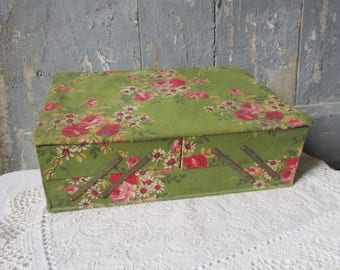 Fabric covered Box Antique French Work Box Flower Pattern Roses sewing box jewelry box trinket French Antique Paris Boudoir roses birds