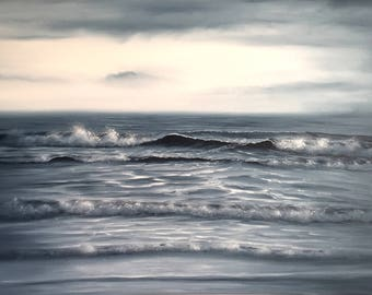 Large Monochrome Painting, Ocean Waves Coastal Landscape Painting, Original Seascape Oil Painting on Canvas, Looking into Eternity
