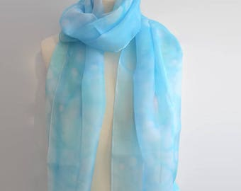 Light blue scarf, silk scarves, silk scarf blue, summer scarf, ladies scarf, unique handmade scarves, unique scarves, mum gift,