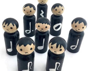 8 Music Note Peg Dolls - Learning Notes - Music Dolls - Teaching Music - Wooden Peg Dolls