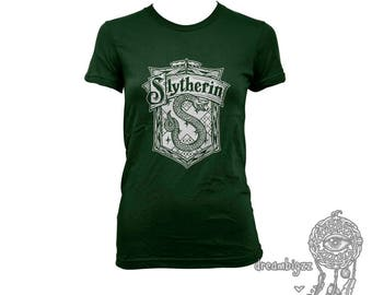 Slytherin Crest #2 White ink on Women tee T-shirt