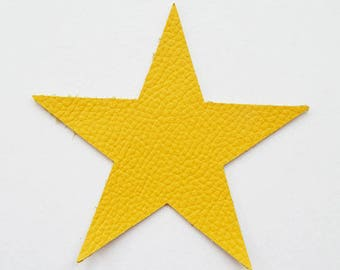 Star pattern in yellow leather
