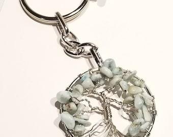 Larimar Tree of Life Keychain