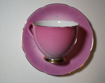 Stanley Teacup and Saucer, Pink with Embossed Blue Dots