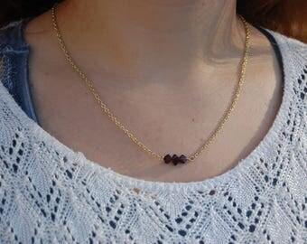 Triple Genuine Garnet Gemstone Bar Necklace