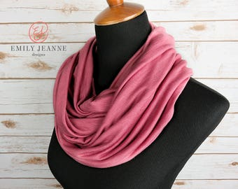 Soft dusty rose infinity scarf - double loop fashion scarf in drapey pink slub knit