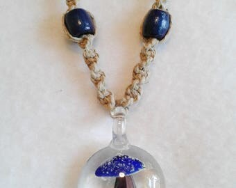 Glass Jellyfish Hemp Necklace CLEARANCE SALE