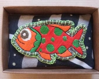 Brooch fish Polka
