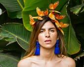 Oaxaca Butterfly Crown, Spring Flower Crown, Festival Crown, Orange Headpiece, Butterfly Headdress, Headband
