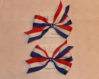 Large Patriotic Stripe Pinwheel Hair Bow