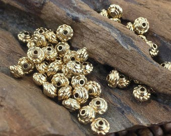 14K Gold Vermeil Rope Saucer Bali Style bead