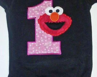Pink and Black Elmo 1st Birthday Onesie Pink Elmo 1st Birthday  Elmo 1st Birthday Shirt Elmo 1st Birthday Onesie Elmo Shirt Birthday