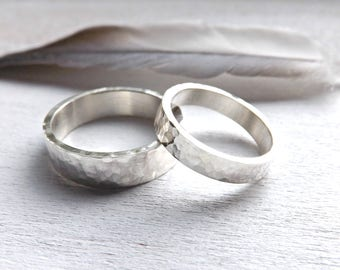 silver wedding bands hammered, matching rings for him her, his hers promise rings, matching wedding rings silver, rustic commitment rings