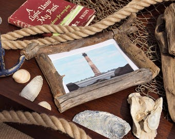 5x7 Lighthouse Picture in Driftwood Frame - FrankiesFrameShop