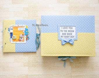 Personalized Baby Memory Box , Memory Book Boy, Baby Album, Baby Shower Gift, Newborn Gift, Scrapbook Album, Baby 1st Book, Baby Scrapbook