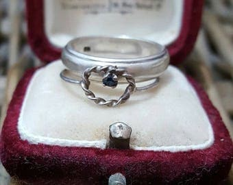 Vintage sterling silver rings, set of 2, stacking, sapphire, size k1/2