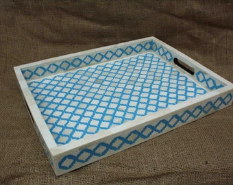 Bone Inlay Tray In Wood Floral Tray Table Decor Grey Color Tray Handmade  From India Coffee