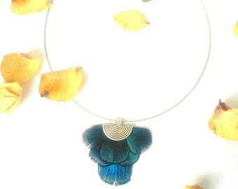 """""""Miranda2"""" necklace with feathers natural Peacock"""