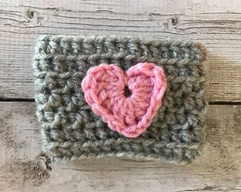 Crochet Coffee Cozy | Grey with Pink Heart | Coffee Sleeve | Crochet Gift | Handmade Coffee Sleeve