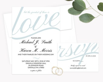 But the greatest of these is Love 1 Corinthians 13:13- Bible verse wedding invitation - Christian wedding invitation - JW wedding Invitation