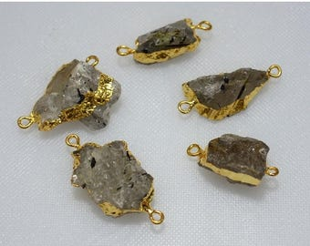 ON SALE 50% Rough Rutilated Quartz Connectors, Stalactite Raw Connector, Electroplated Druzy Connector, Gold Connectors,5 pieces,15x22mm - 2