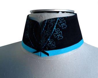 Turquoise and black embroidered velvet Reanna Mandarin collar