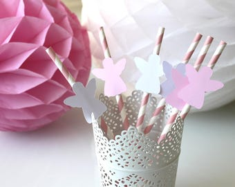 set of 6 straws Angels - pink and white - for child's baptism