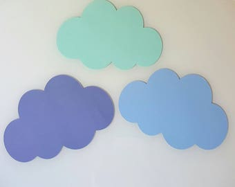 Set of 3 clouds-wall decor - bedroom - baptism - 21 cm