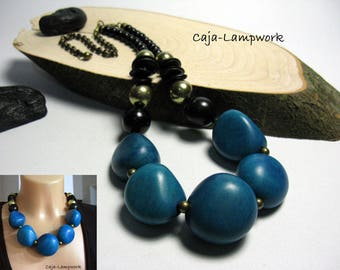 Turquoise statement necklace, giant Tagua beads, very noble