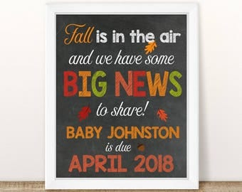 PRINTABLE Fall Pregnancy Announcement, Fall is in the air, Chalkboard Sign, Fall Pregnancy Reveal, Photo Prop, Fall Pregnancy, expecting