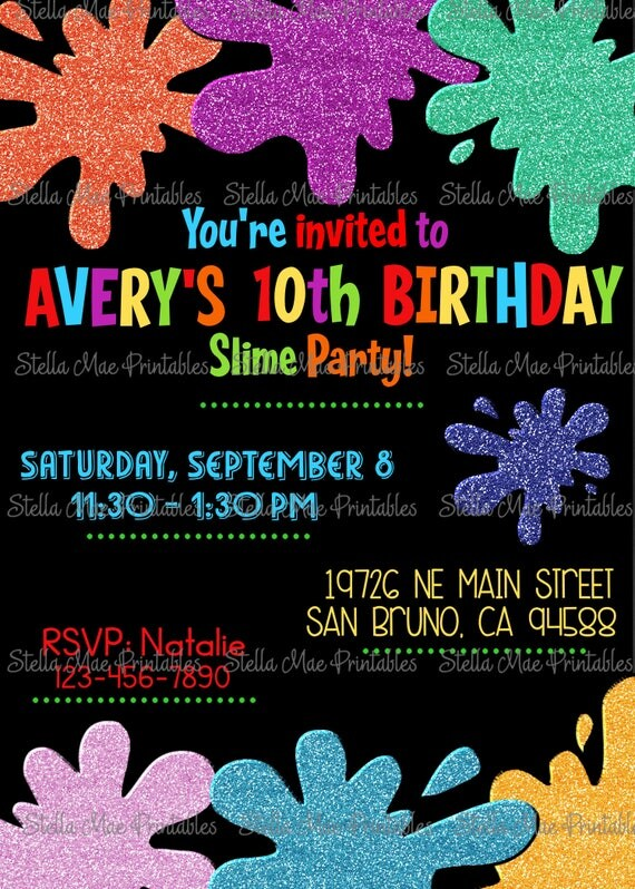 Slime Birthday Party Invitation art slime glitter
