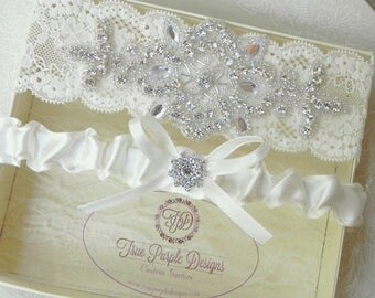 Wedding Garter Set, Bridal Garter Set, Ivory Lace, Ivory Satin, Rhinestones, Beaded, Ivory Lace Garter, Ivory Satin Garter, Toss Garter Set