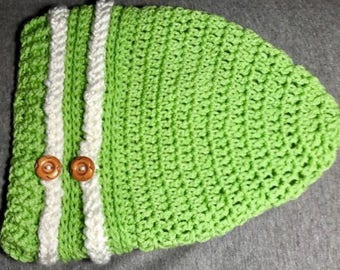 Green & White Slouch Beanie