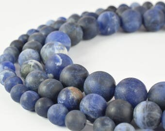 """6mm/8mm/10mm Matte Sodalite Beads, Round 15"""" inch strand /Gems/Cabochons Beads/Wholesale/Craft Tools/Loose Beads Round Craft supplies"""