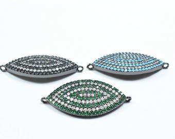 Marquise Shape Eye Micro Pave CZ Rhinestone Spacer Beads High Quality Horizontal Hole 3 Colors