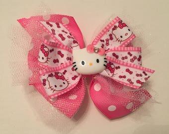 Hello Kitty Hair Bow Hello Kitty Bow Pink Polka Dot Hello Kitty Bow with Tulle Pink Polka Dot Hello Kitty Bow