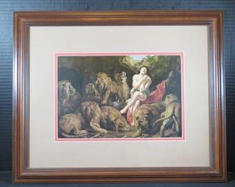 Framed Peter Paul Rubens Daniel in the Lion's Den Print Wood Matted Religious Catholic