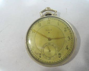 1936 Elgin Gold Filled Pocket Watch 17 Jewel 12 Size Running Nice Watch 45mm