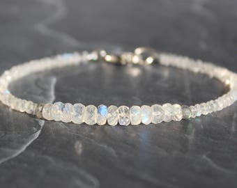 Moonstone Bracelet with Labradorite, Rainbow Moonstone Bracelet, June Birthstone, Gemstone Beaded Dainty Bracelet, White Bracelet