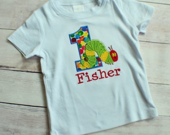 Personalized Hungry Caterpillar Appliqué Shirt - Fist Birthday Shirt  - Hungry Caterpillar Shirt - First Birthday Shirt - Second Birthday