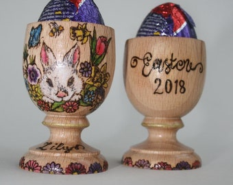 Personalised Easter egg cup, wooden egg cup, named egg holder pyrography egg cup