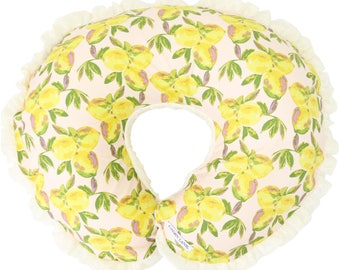 Sweet Lemon & Lace | Vintage Lemon Ruffled Nursing Pillow Cover