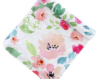 Fairytale Floral Oversized Swaddle Blanket | Super Soft Large Swaddle Blanket in our popular Watercolor floral print | Swaddle Baby Gift