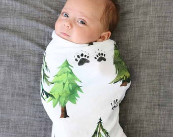 Woodland Trees Oversized Swaddle Blanket | Super Soft Large Swaddle Blanket in our Watercolor tree print | Woodland Tree Swaddle