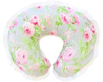 Rosalie's Floral | Pink, Gray, White Floral Baby Girl Ruffled Nursing Pillow Cover