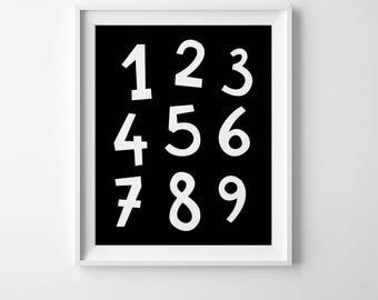 Scandinavian poster, monochrome numbers print, black and white poster, kids bedroom decor, kids nursery wall art boys nursery art kids print